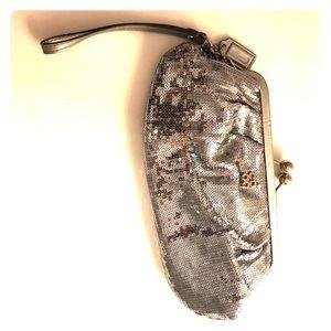 Coach silver sequin clutch